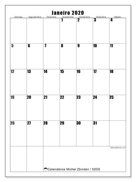 Calendário janeiro 2020, 52DS. Calendário gratuito para imprimir.