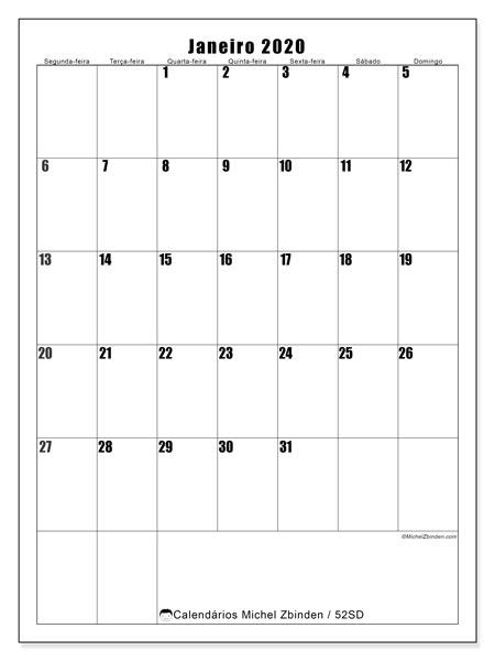 Calendário janeiro 2020, 52SD. Calendário para o mês para imprimir livre.