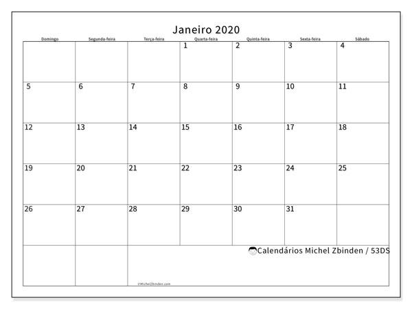 Calendário janeiro 2020, 53DS. Calendário para o mês para imprimir livre.