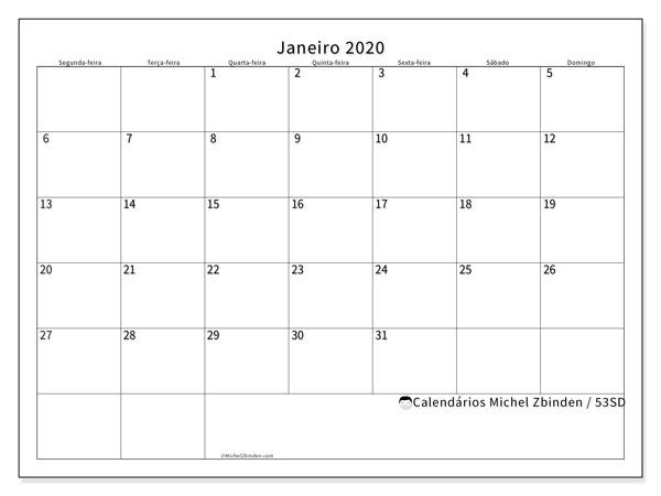 Calendário janeiro 2020, 53SD. Agenda para imprimir livre.