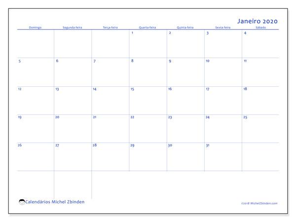 Calendário janeiro 2020, 55DS. Calendário mensal para imprimir gratuitamente.