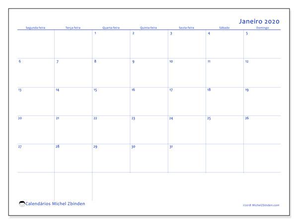 Calendário janeiro 2020, 55SD. Calendário para imprimir gratuitamente.