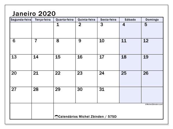 Calendário janeiro 2020, 57SD. Calendário para o mês para imprimir livre.