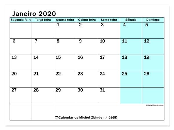 Calendário janeiro 2020, 59SD. Agenda para imprimir livre.