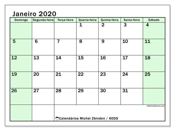 Calendário janeiro 2020, 60DS. Calendário gratuito para imprimir.