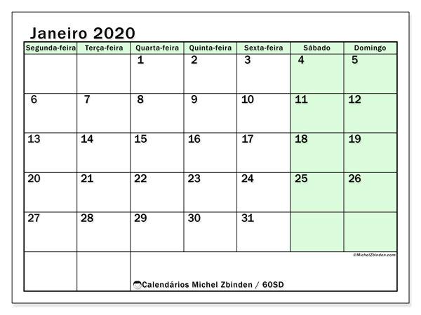 Calendário janeiro 2020, 60SD. Calendário mensal para imprimir gratuitamente.