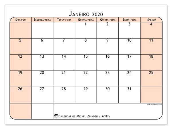 Calendário janeiro 2020, 61DS. Agenda para imprimir livre.
