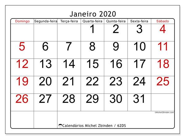Calendário janeiro 2020, 62DS. Calendário para o mês para imprimir livre.