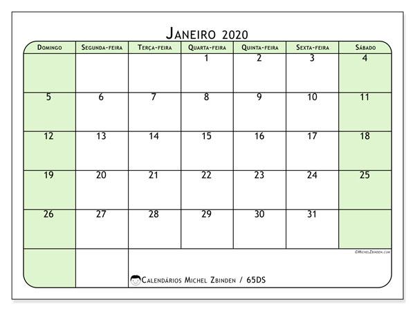Calendário janeiro 2020, 65DS. Agenda para imprimir livre.