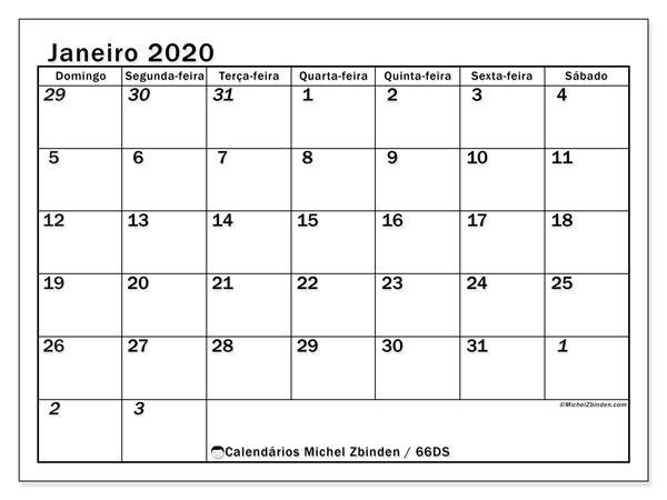 Calendário janeiro 2020, 66DS. Calendário para imprimir gratuitamente.