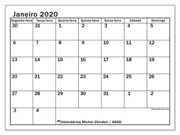 Calendário janeiro 2020, 66SD. Calendário gratuito para imprimir.
