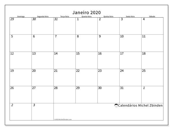 Calendário janeiro 2020, 70DS. Agenda para imprimir livre.