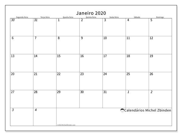 Calendário janeiro 2020, 70SD. Calendário gratuito para imprimir.