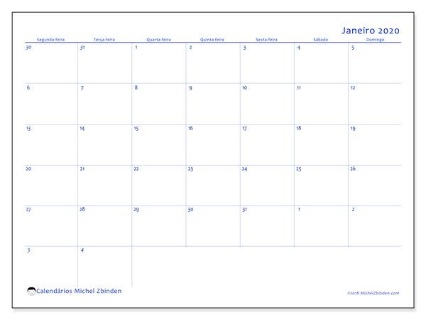 Calendário janeiro 2020, 73SD. Horário para imprimir livre.