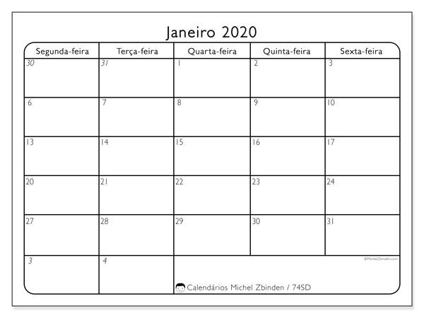 Calendário janeiro 2020, 74SD. Calendário gratuito para imprimir.