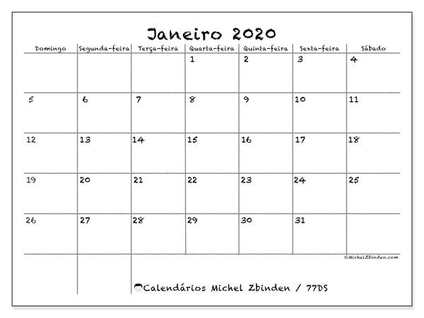 Calendário janeiro 2020, 77DS. Calendário gratuito para imprimir.