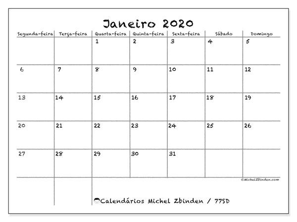 Calendário janeiro 2020, 77SD. Calendário gratuito para imprimir.