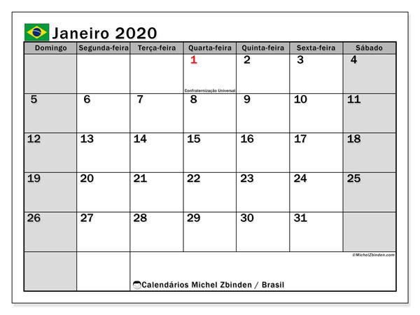 Calendário janeiro 2020, com as festas do Brasil. Calendário para impressão gratuita com feriados.