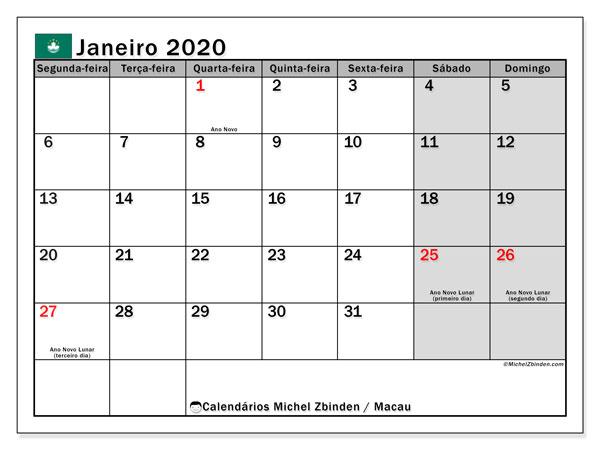 Calendário janeiro 2020, com as festas do Macau. Calendário feriados para imprimir gratuitamente.