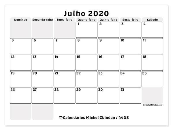 Calendário julho 2020, 44DS. Calendário mensal para imprimir gratuitamente.