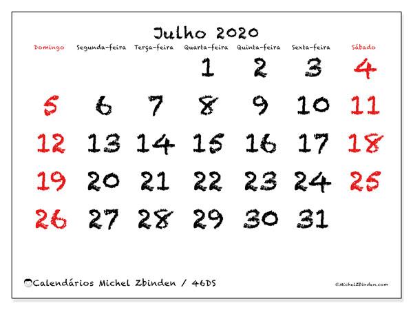 Calendário julho 2020, 46DS. Calendário gratuito para imprimir.