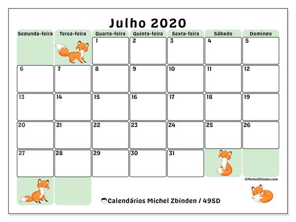 Calendário julho 2020, 49SD. Horário para imprimir livre.