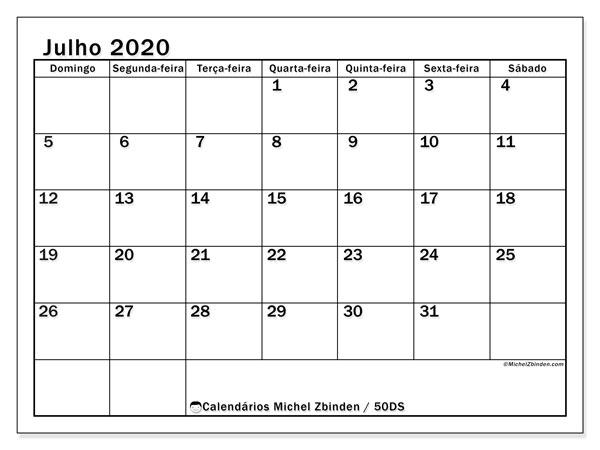 Calendário julho 2020, 50DS. Calendário para imprimir gratuitamente.