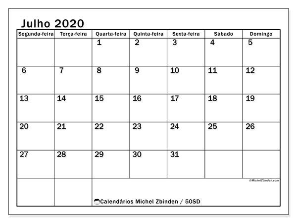 Calendário julho 2020, 50SD. Calendário gratuito para imprimir.