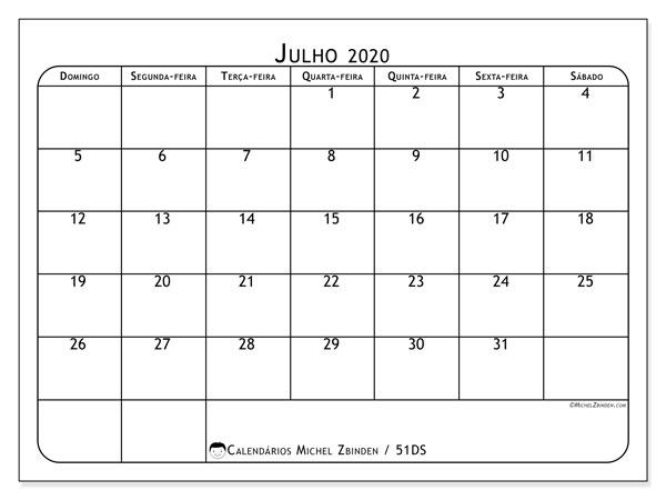 Calendário julho 2020, 51DS. Calendário para o mês para imprimir livre.