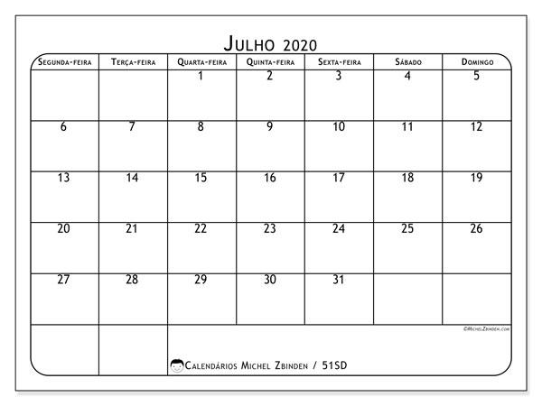 Calendário julho 2020, 51SD. Calendário para imprimir livre.
