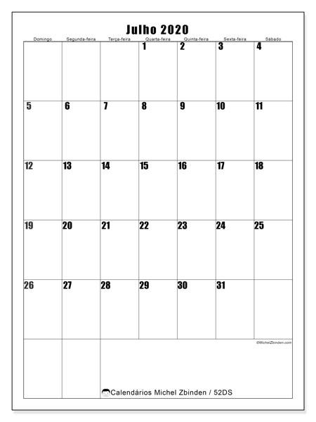 Calendário julho 2020, 52DS. Calendário para imprimir gratuitamente.
