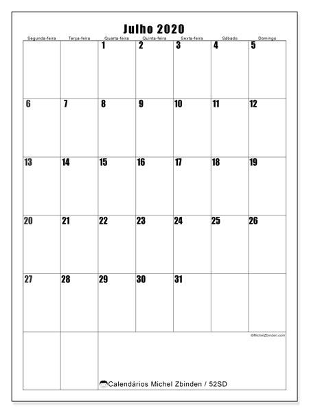 Calendário julho 2020, 52SD. Calendário mensal para imprimir gratuitamente.