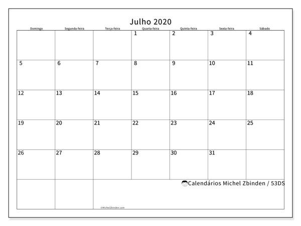 Calendário julho 2020, 53DS. Calendário para imprimir livre.