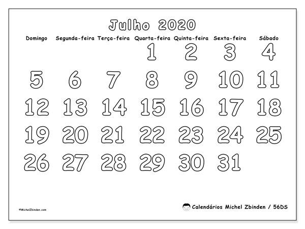 Calendário julho 2020, 56DS. Horário para imprimir livre.