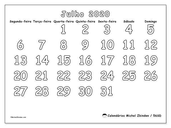 Calendário julho 2020, 56SD. Calendário gratuito para imprimir.