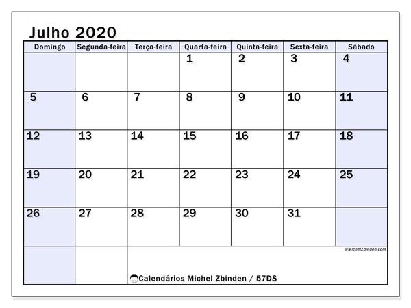 Calendário julho 2020, 57DS. Calendário para o mês para imprimir livre.