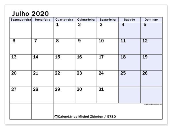 Calendário julho 2020, 57SD. Calendário para imprimir gratuitamente.