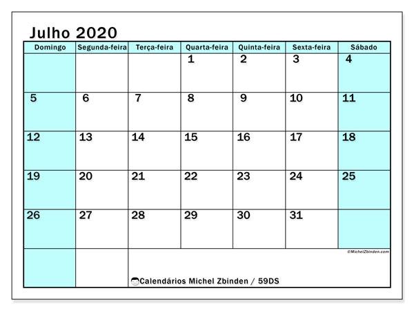Calendário julho 2020, 59DS. Agenda para imprimir livre.