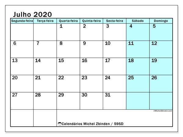 Calendário julho 2020, 59SD. Calendário para o mês para imprimir livre.