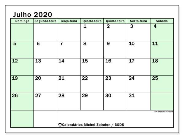 Calendário julho 2020, 60DS. Calendário para imprimir livre.