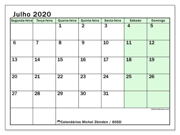 Calendário julho 2020, 60SD. Agenda para imprimir livre.