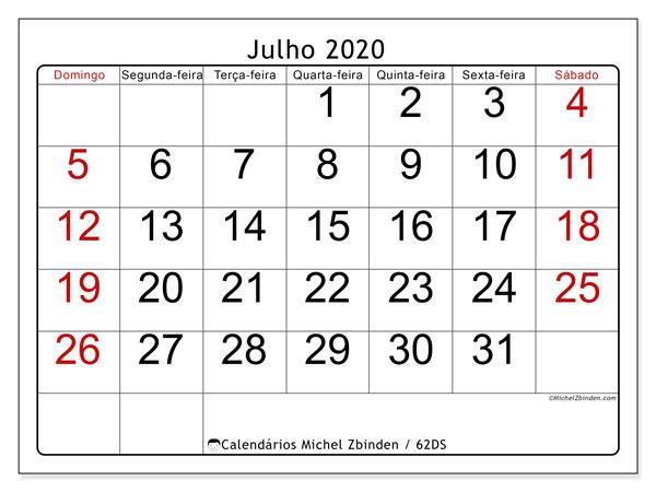 Calendário julho 2020, 62DS. Agenda para imprimir livre.