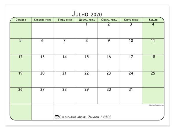 Calendário julho 2020, 65DS. Horário para imprimir livre.