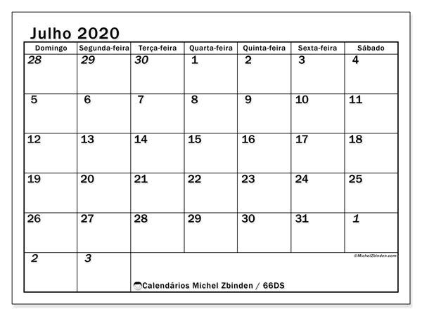 Calendário julho 2020, 66DS. Calendário para imprimir livre.