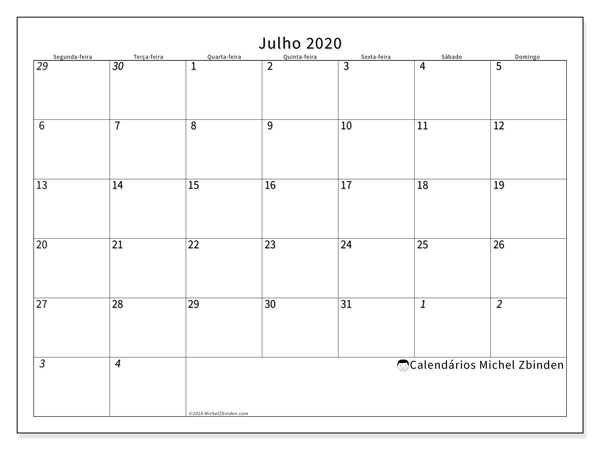 Calendário julho 2020, 70SD. Agenda para imprimir livre.