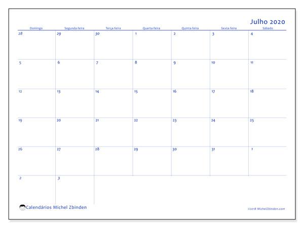 Calendário julho 2020, 73DS. Calendário para imprimir gratuitamente.
