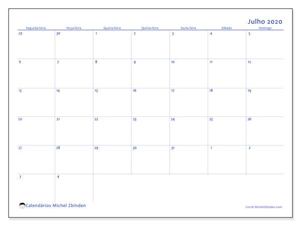 Calendário julho 2020, 73SD. Calendário para imprimir gratuitamente.
