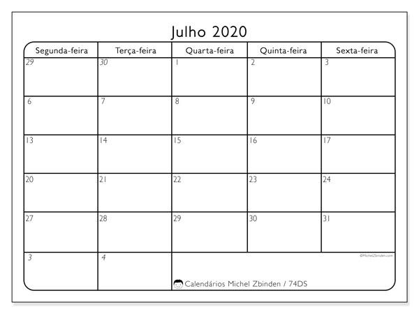 Calendário julho 2020, 74DS. Calendário gratuito para imprimir.