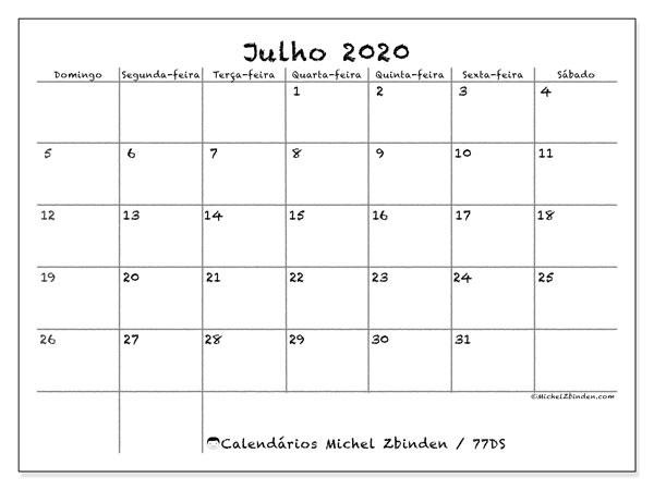 Calendário julho 2020, 77DS. Calendário gratuito para imprimir.