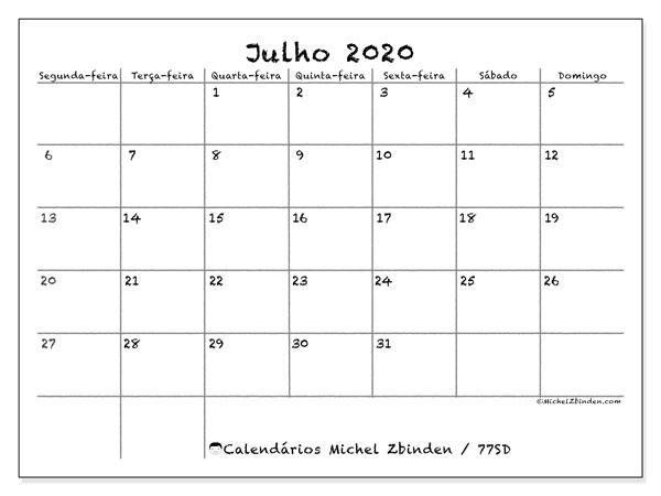 Calendário julho 2020, 77SD. Horário para imprimir livre.